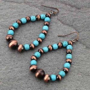 Graduated Tear Navajo Style Drop Earrings